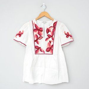 NWT MADEWELL White Pink Embroidered Fable Top